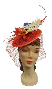 Red Sinamay Veil  Flower Feather Hat Fascinator Races Wedding